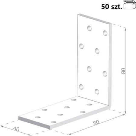 Kątownik KM7 80x80x40 x 2,0 mm (50 szt.)