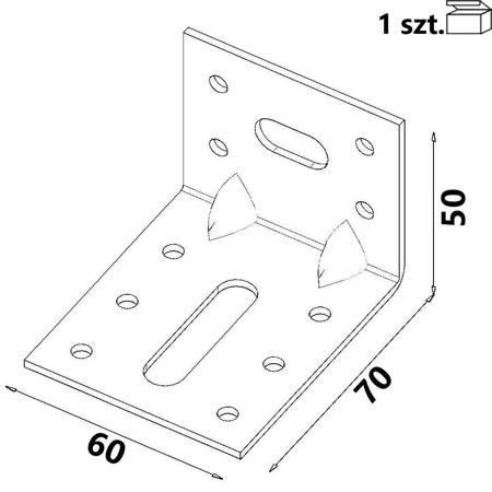 Kątownik KR2 70x50x60x 2,0 mm (1 szt.)