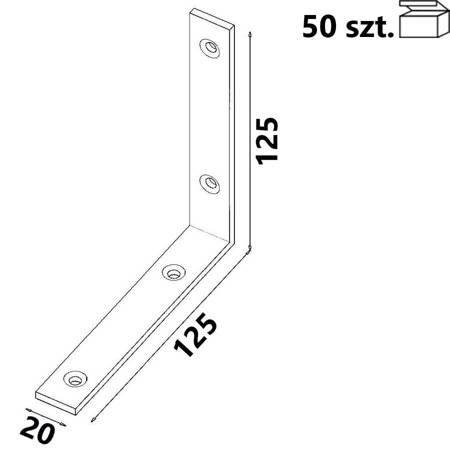 Kątownik KW6 125x125x20 x 4,0 mm (50 szt.)