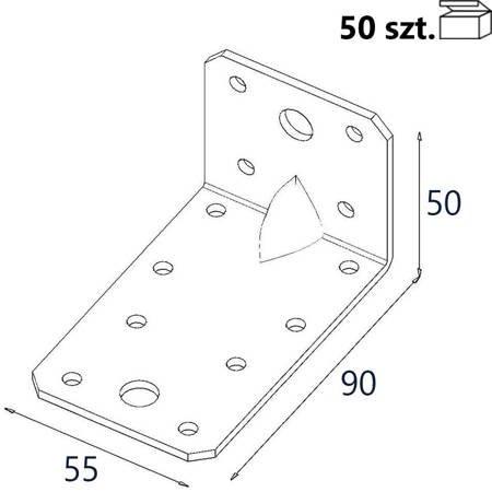 Kątownik z przetło. KP3/2 90x50x55 x 2,0mm (50 szt.)