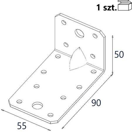 Kątownik z przetło. KP3/2 90x50x55 x 2,5mm (1 szt.)