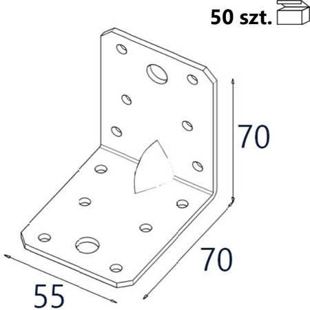 Kątownik z przetło. KP4 70x70x55 x 2,5mm (50 szt.)