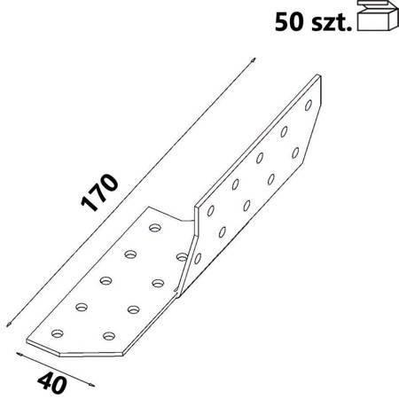 Łącznik krokwiowy lewy ŁK1 40x170x 2,0 mm (50 szt.)