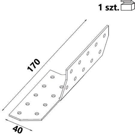 Łącznik krokwiowy lewy ŁK1 40x170x2,0 mm (1 szt.)